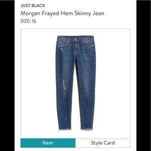 EUC Just Black Distressed Skinny Jean
